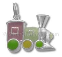 Sterling Silver Enamel Train with Multi Color