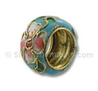 Light Blue Cloisonne Flower Spacer Bead