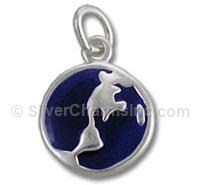 Sterling Silver Enamel 2 Sided Blue Globe Charm