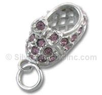 Pink Crystal Baby Shoe Charm