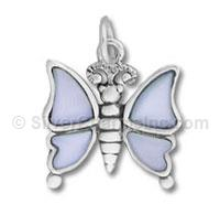 Blue Shell Butterfly Enamel Charm
