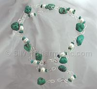 "40"" Turquoise and Pearl Link Necklace"