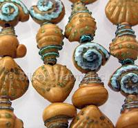 Brown and Blue Seashell Glass Beads