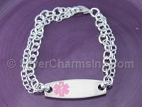 Pink Stainless Steel Medical ID Bracelet