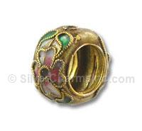Gold Cloisonne Flower Spacer Bead